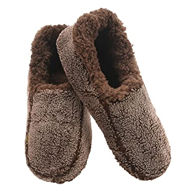 Snoozies Mens Two Tone Fleece Lined Slippers   Comfortable Slippers for Men   Fuzzy Mens Slipper Socks   Soft Sole Mens House Slippers   Multiple Sizes and Colors   Slippers