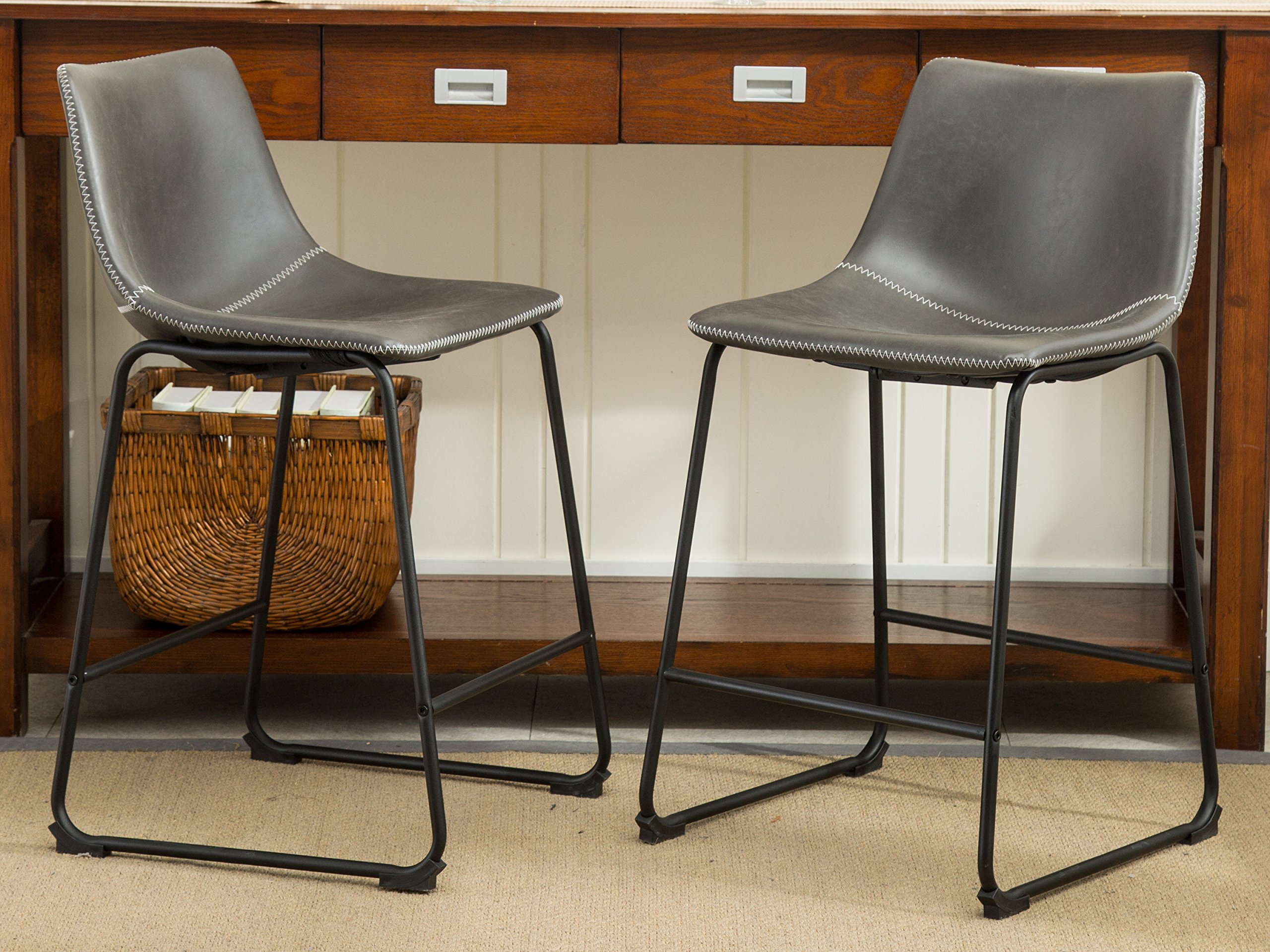 Roundhill Furniture Lotusville Vintage PU Leather Counter Height Stools, Antique Gray, Set of 2 by Roundhill Furniture