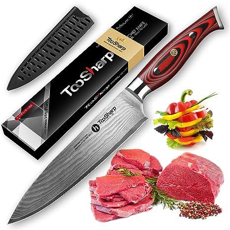 TooSharp Cuchillo de Chef de 20 cm japonés VG10 Super Steel Cuchillo de cocina de 67 capas de Damasco Navaja afilada