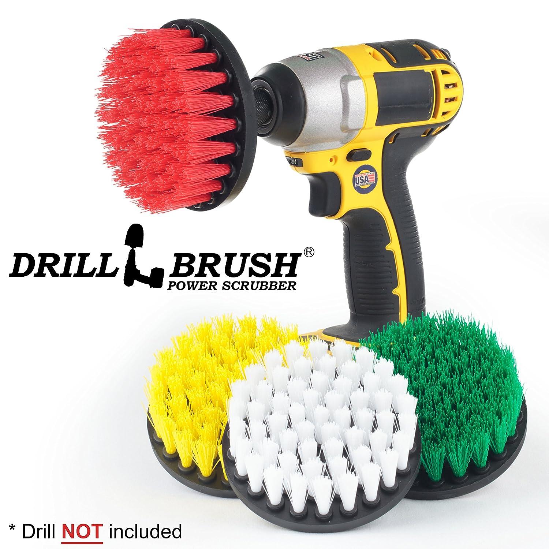 Cleaning Supplies - Drill Brush - Bathroom Accessories - Shower Cleaner - Tile - Bathtub - Bath Mat - Sink - Flooring - Kitchen Accessories - Spin Brush - Stove - Oven - Scrub Brush - Bird Bath Drillbrush 4in-short-Y-R-W-G