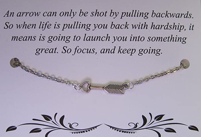 Amazoncom Arrow Necklace With Heart And Inspirational Quote