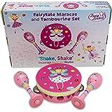 Fairy Tale Kids TAMBOURINE & MARACAS - Pink Wooden Musical Instrument Toy - Lucy Locket