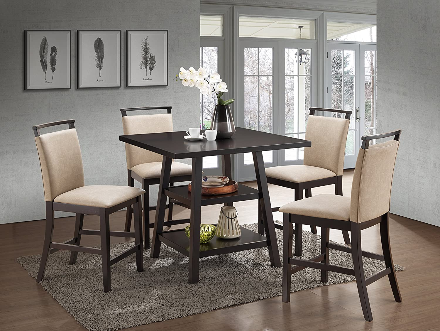 Kings Brand Aloe Coffee Finish Upholstered Faux Leather Counter Height Parsons Chairs Set of 2