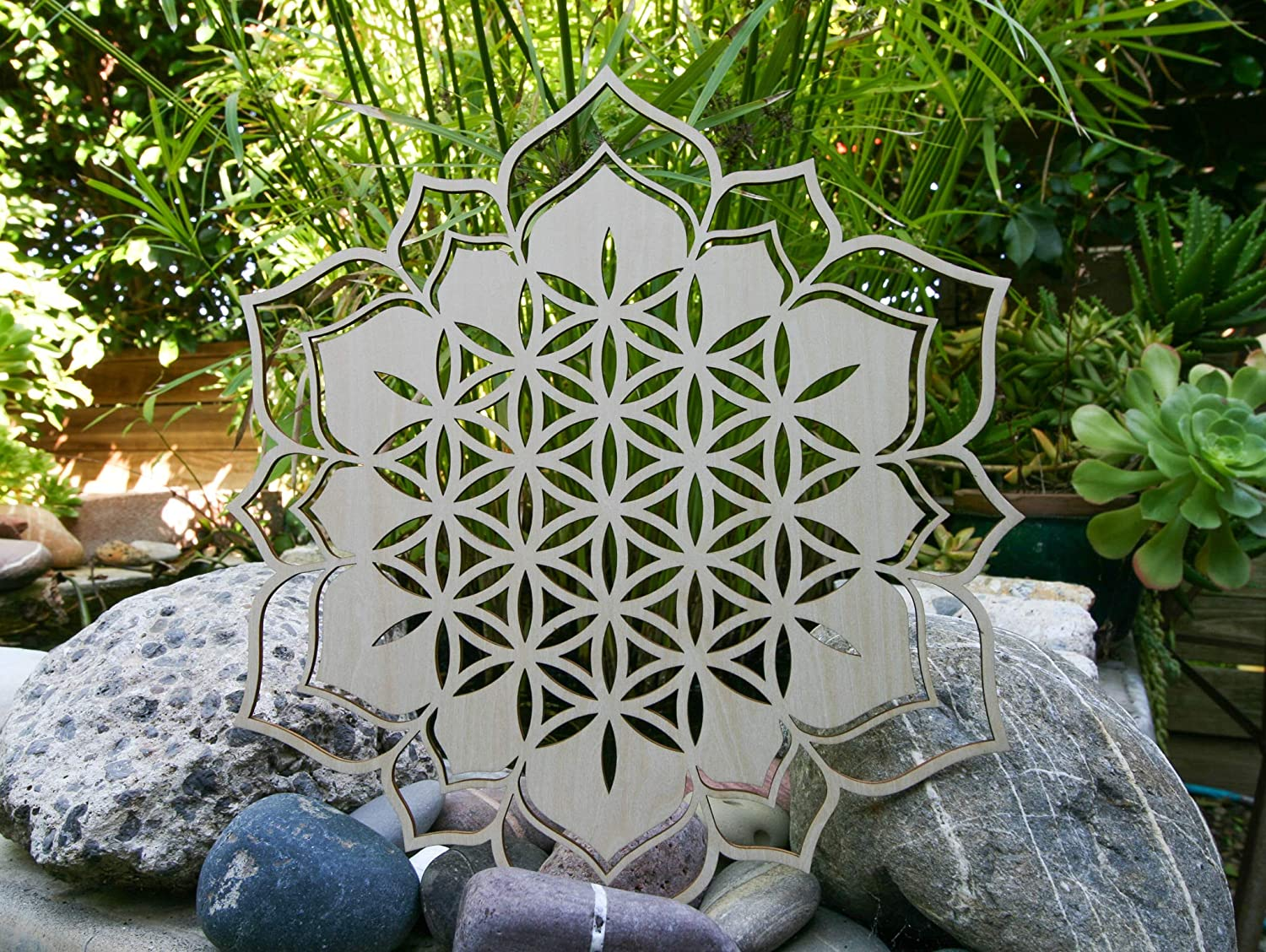"Flower of Life Lotus 12"", Seed of Life, Home Decor, Wooden Wall Art, Sacred Geometry Art, Sculpture, Wall Decorations, Chakra Banner, Crystal Grid"