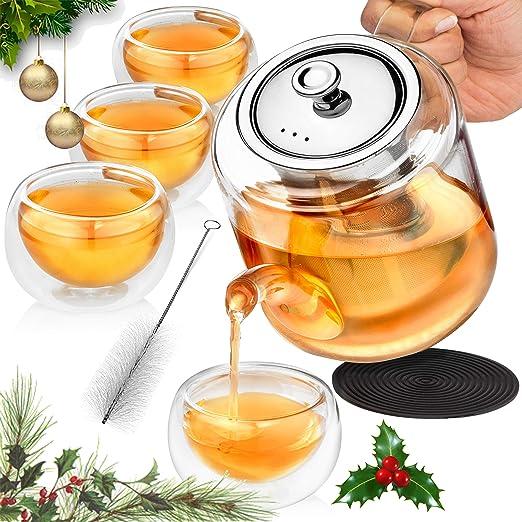Amazon.com: Juego de tetera de cristal con infusor para té ...