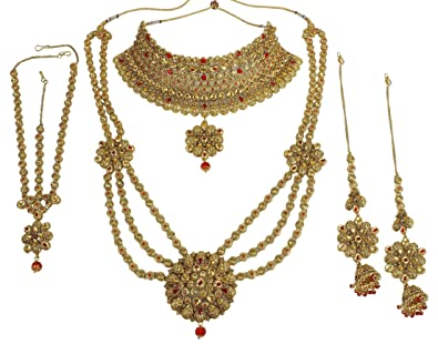 2c6cae67d MUCH MORE Gold Plated Brass Royal Look Bridal Necklace Set for Women