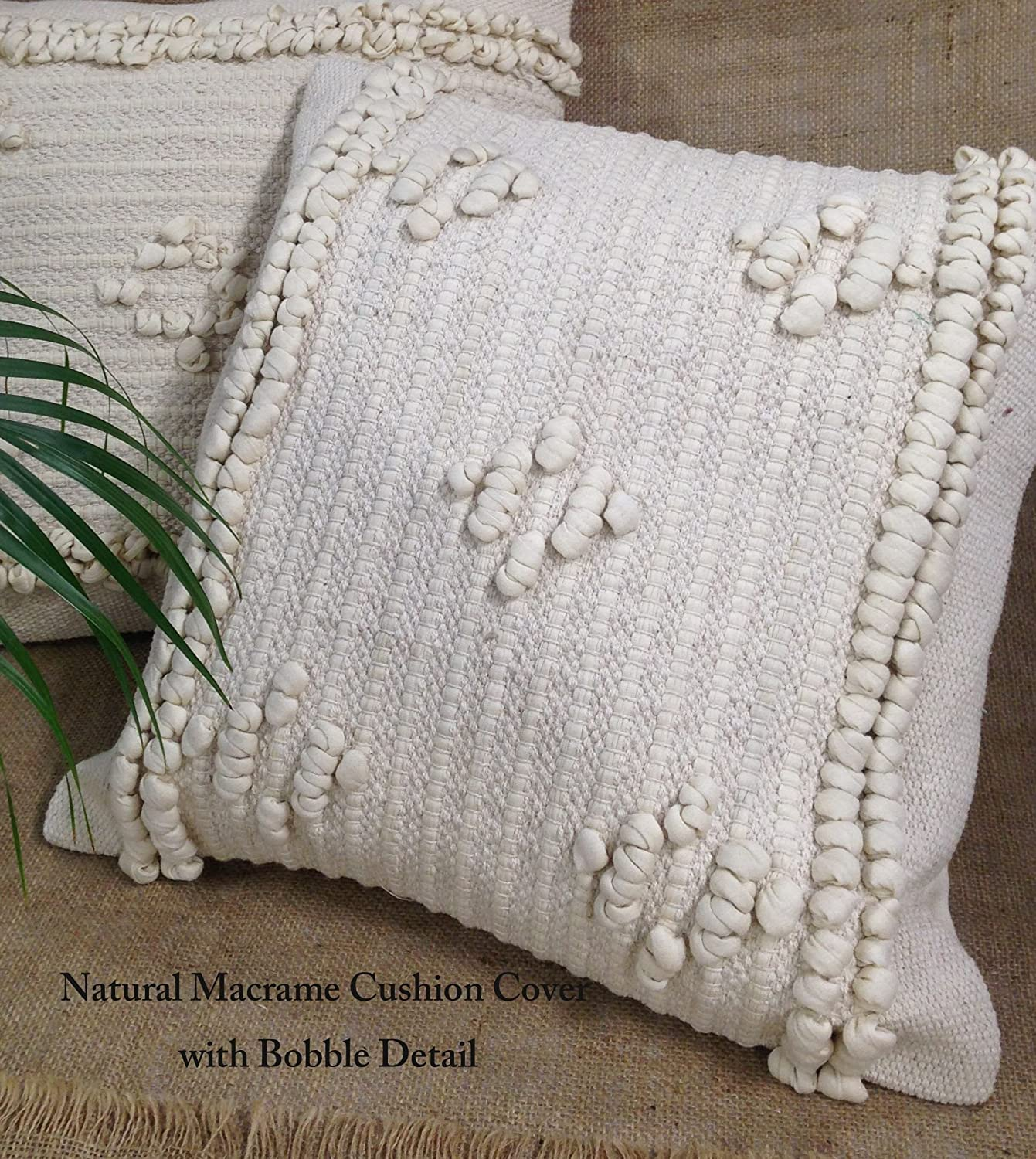 indian antique french cushions. Natural Cream Macrame Boho Cushion Covers With Tassels Fringes And Bobble Detail (Natural Plait \u0026 Tassels): Amazon.co.uk: Kitchen Home Indian Antique French Cushions