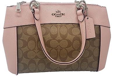 579196c2 Coach Womens Mini Brooke Carryall Handbag, Signature Crossgrain Leather,  Detachable Crossbody Strap (Mini, Khaki/Blush)