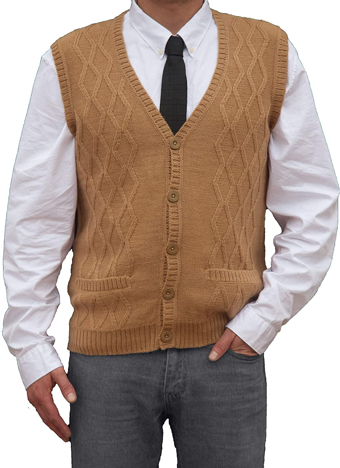 Beige Camel Peruvian Alpaca Wool Vest for Men Basic V Neck Button Up Cardigan Sweater TINKUY PERU