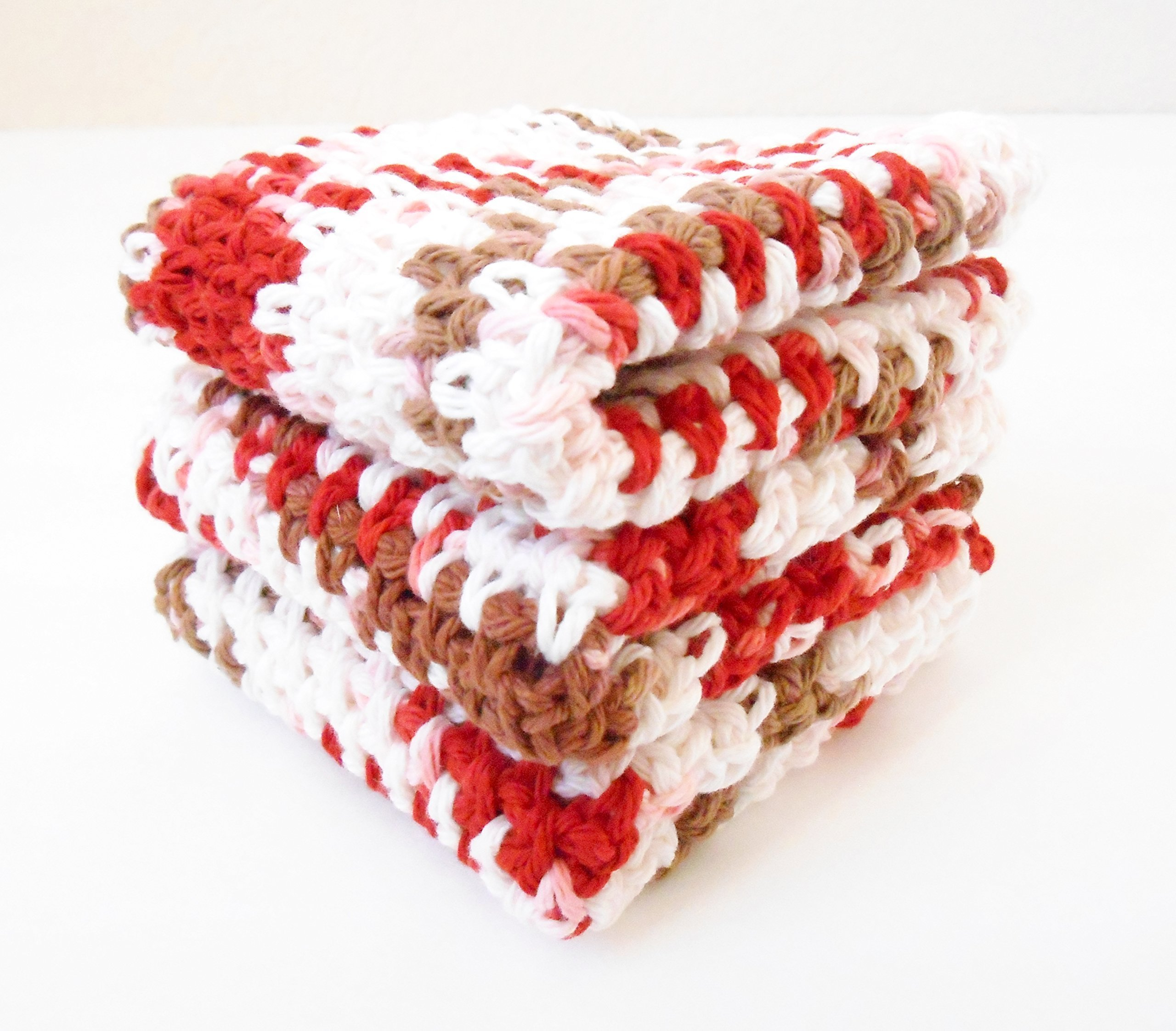 Crochet Kitchen Dishcloths, Set of Three, Red and Brown Multi-Color