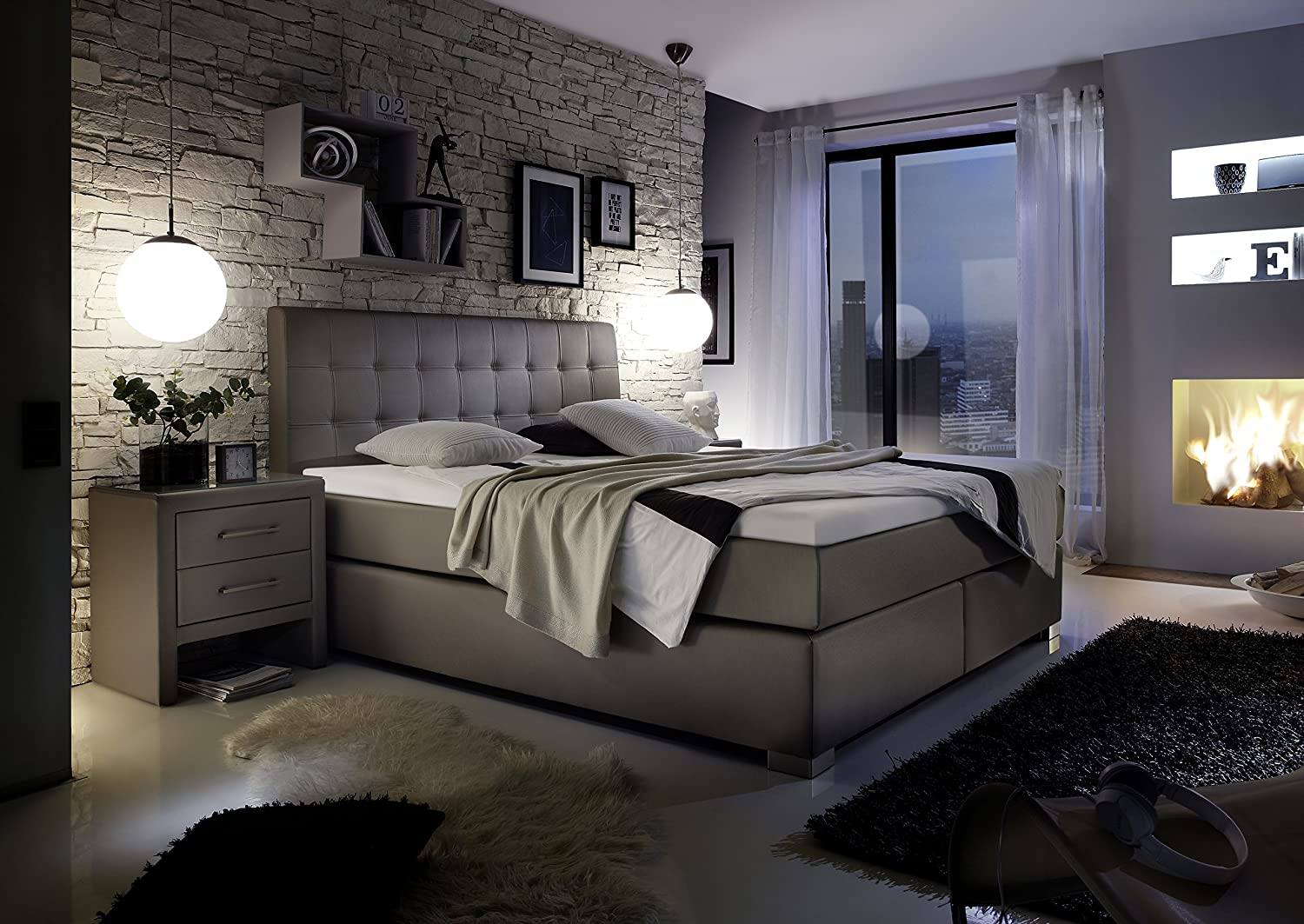 design boxspringbett hotelbett grau 200 x 200 cm h2 h2. Black Bedroom Furniture Sets. Home Design Ideas