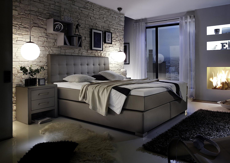 design boxspringbett hotelbett grau 200 x 200 cm h2 h2 g nstig preis boxspringbetten online. Black Bedroom Furniture Sets. Home Design Ideas
