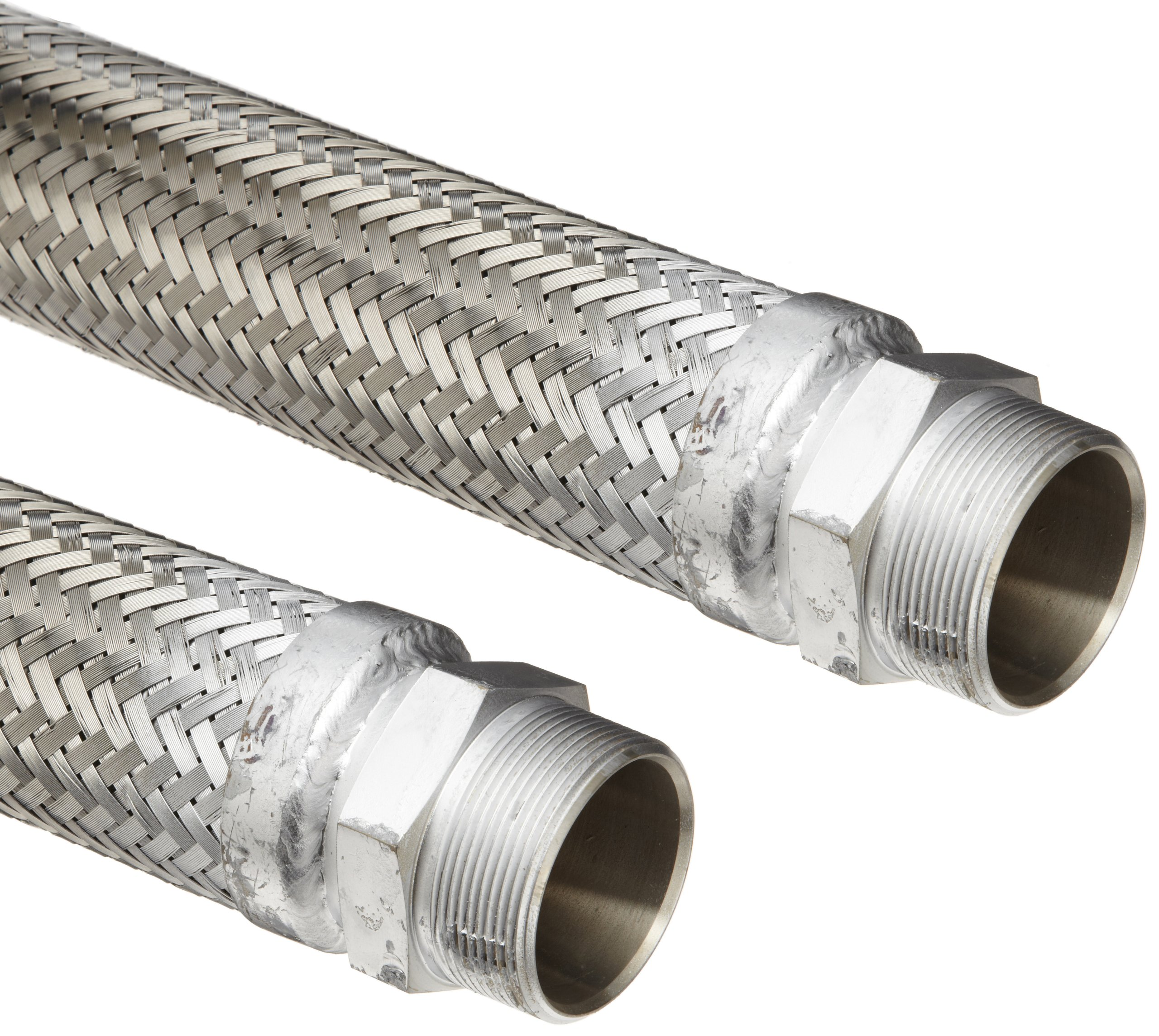 Hose Master Masterflex Stainless Steel 321 Flexible Hose Assembly, 1-1/2'' Stainless Steel 304 Hex NPT Male x Hex NPT Male Connection, 531 PSI Maximum Pressure, 12'' Length, 1-1/2'' ID by Hosemaster (Image #1)