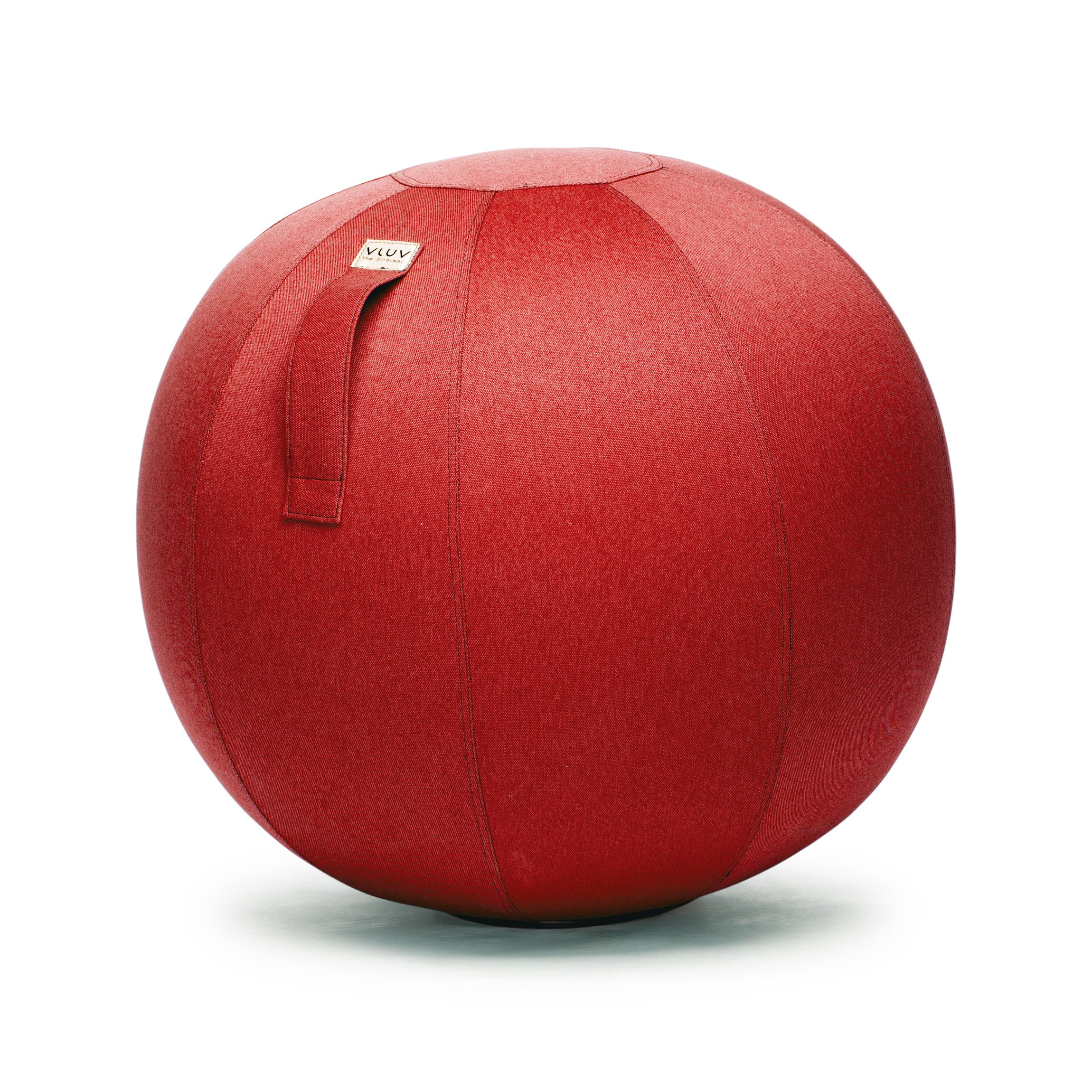 VLUV LEIV 29.5'' Premium Quality Self-Standing Sitting Ball with Handle - Home or Office Chair and Exercise Ball for Yoga, Stretching, or Gym Stone Colored Canvas Fabric (Ruby Colored, 25.6'')