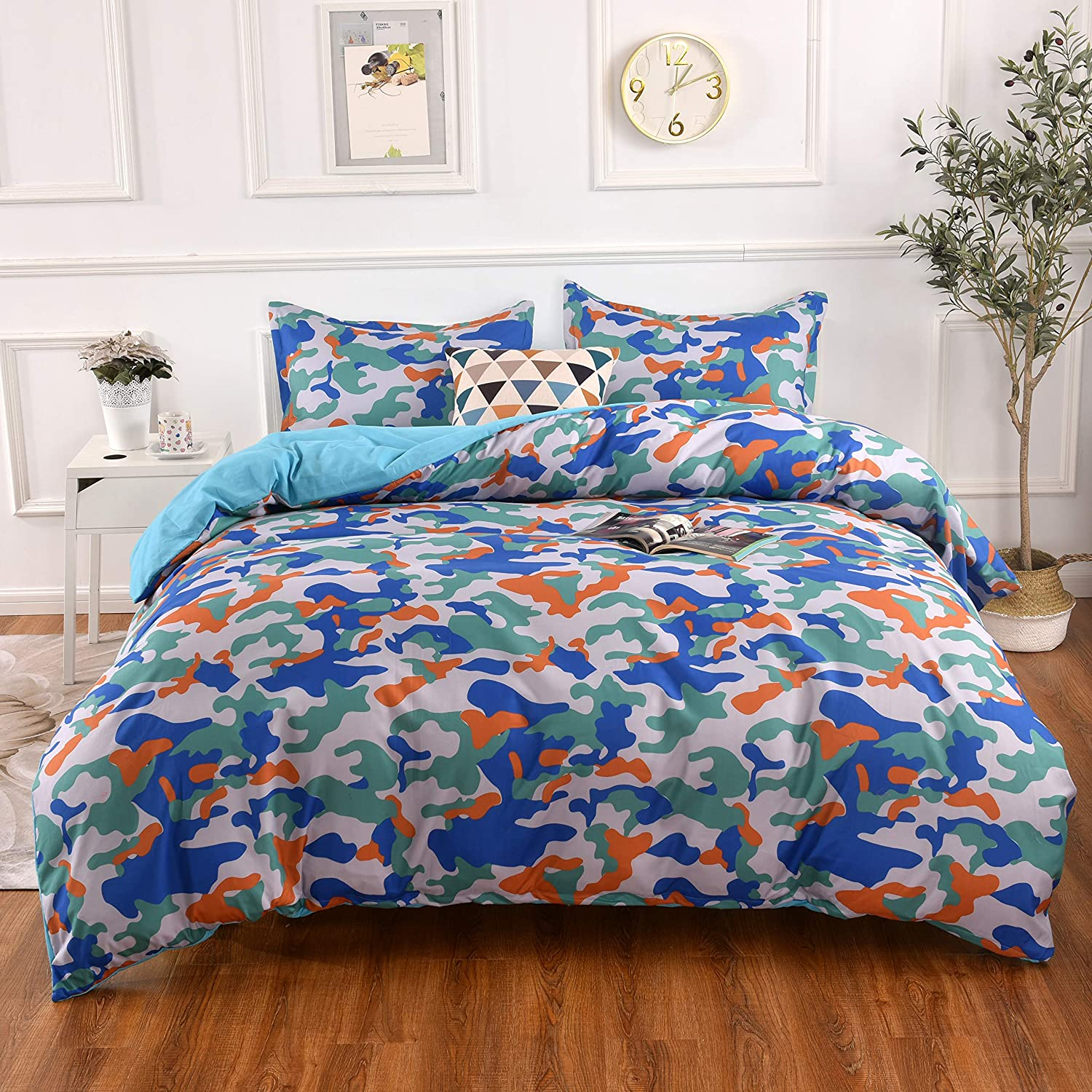 YMY Lightweight Microfiber Bedding Duvet Cover Set,Camouflage Orange Blue Printing Pattern (Queen)
