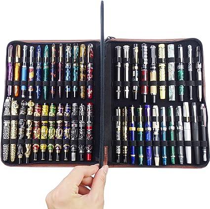 Estuche de piel de vaca para bolígrafos, para bolígrafos de varios tamaños, 46 ranuras: Amazon.es: Oficina y papelería
