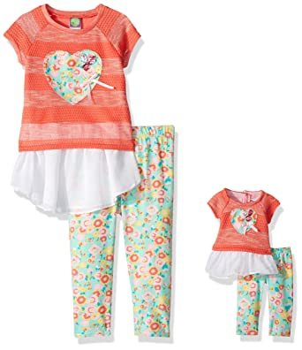 9da465be4cba4 Dollie & Me Girls' Little Drop-Waist Tunic with Legging and Matching Doll  Outfit