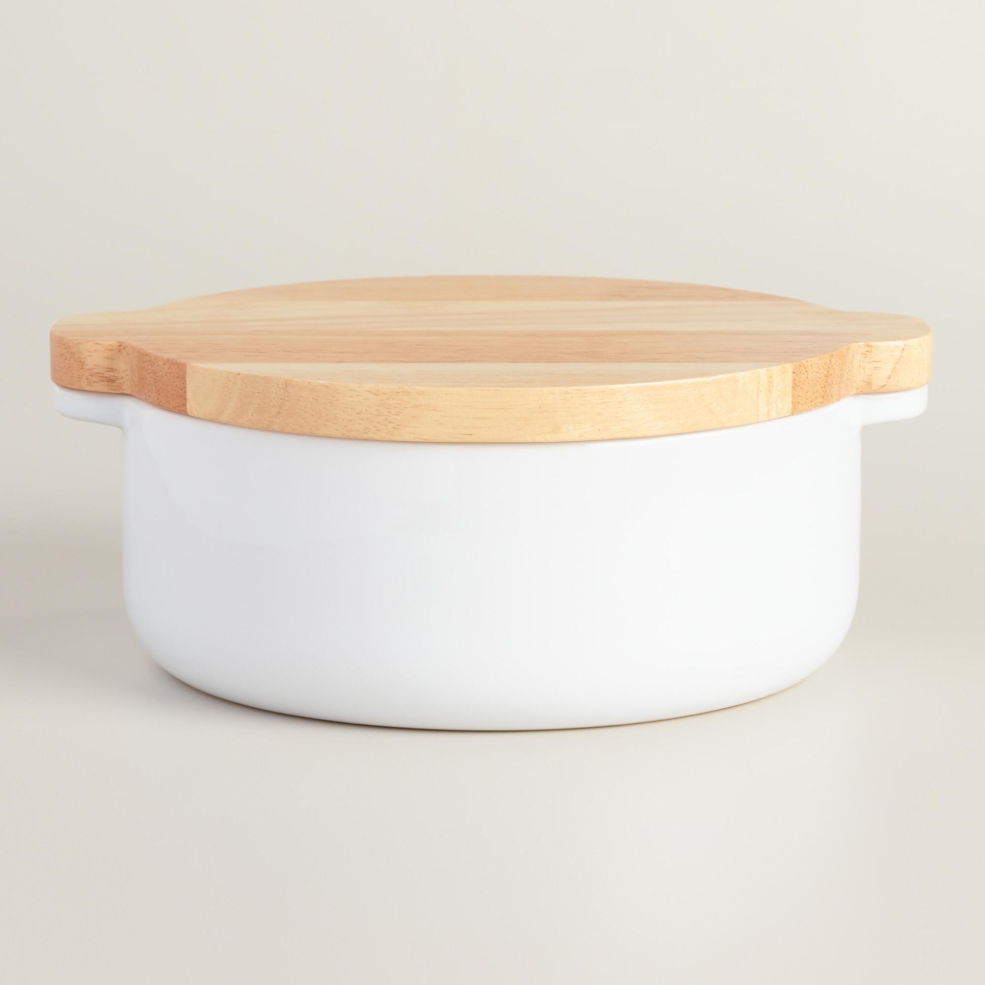 Small White Ceramic Baker with Wood Trivet Lid | World Market