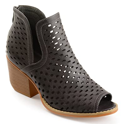 Womens Perforated Side-slit Open-toe Booties