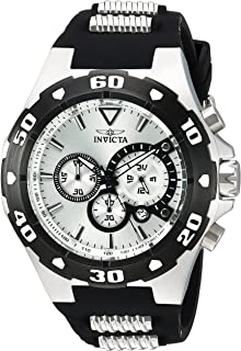 Invicta Mens Pro Diver Quartz Stainless Steel and Polyurethane Casual Watch, Color:
