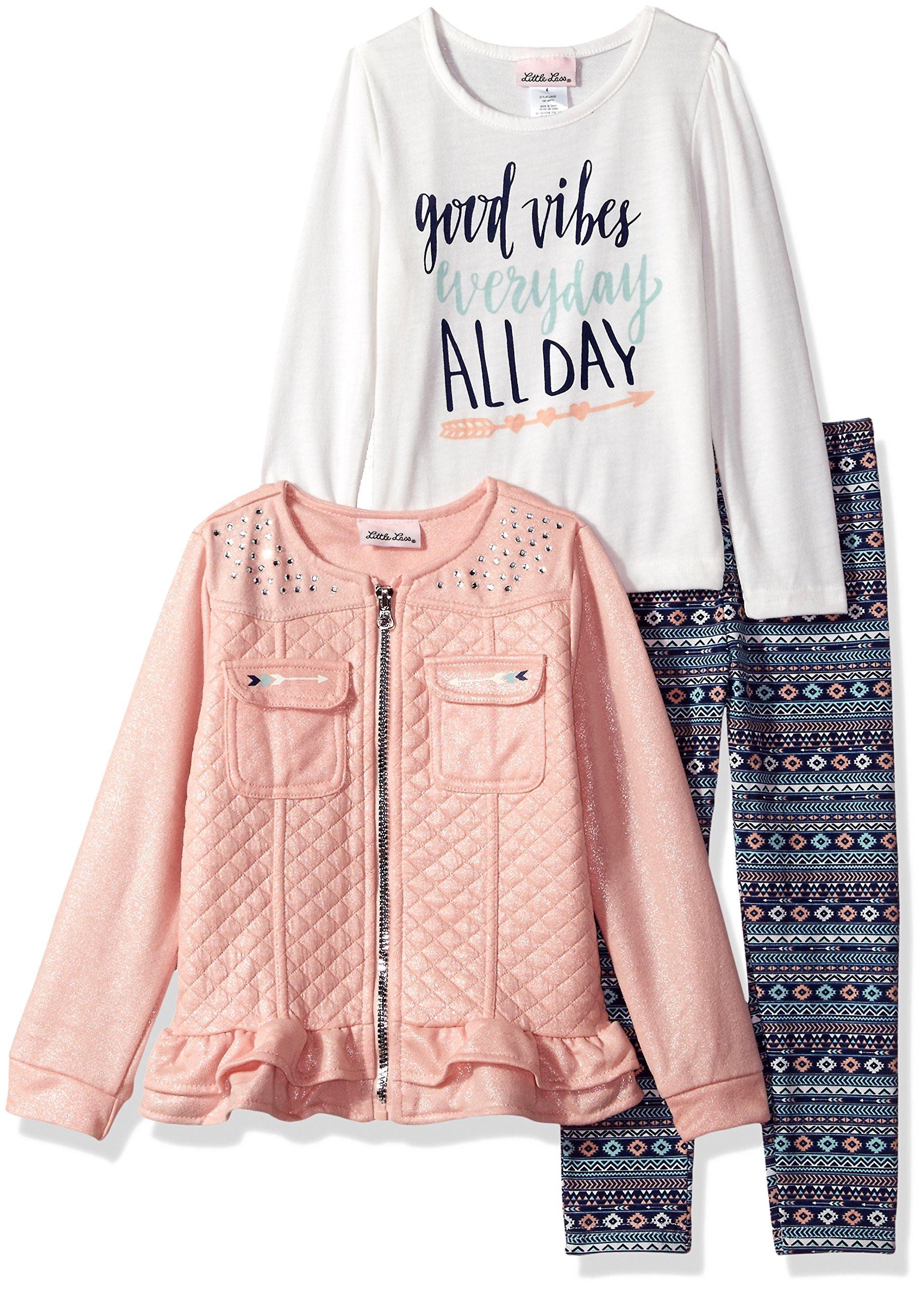 Little Lass Little Girls' 3 Pc Good Vibes Jacket Set, Peach, 5