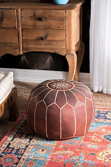 Amazon NuLOOM NUSAPOU40 NuLOOM Living Leather Moroccan Pouf Adorable Nuloom Moroccan Pouf