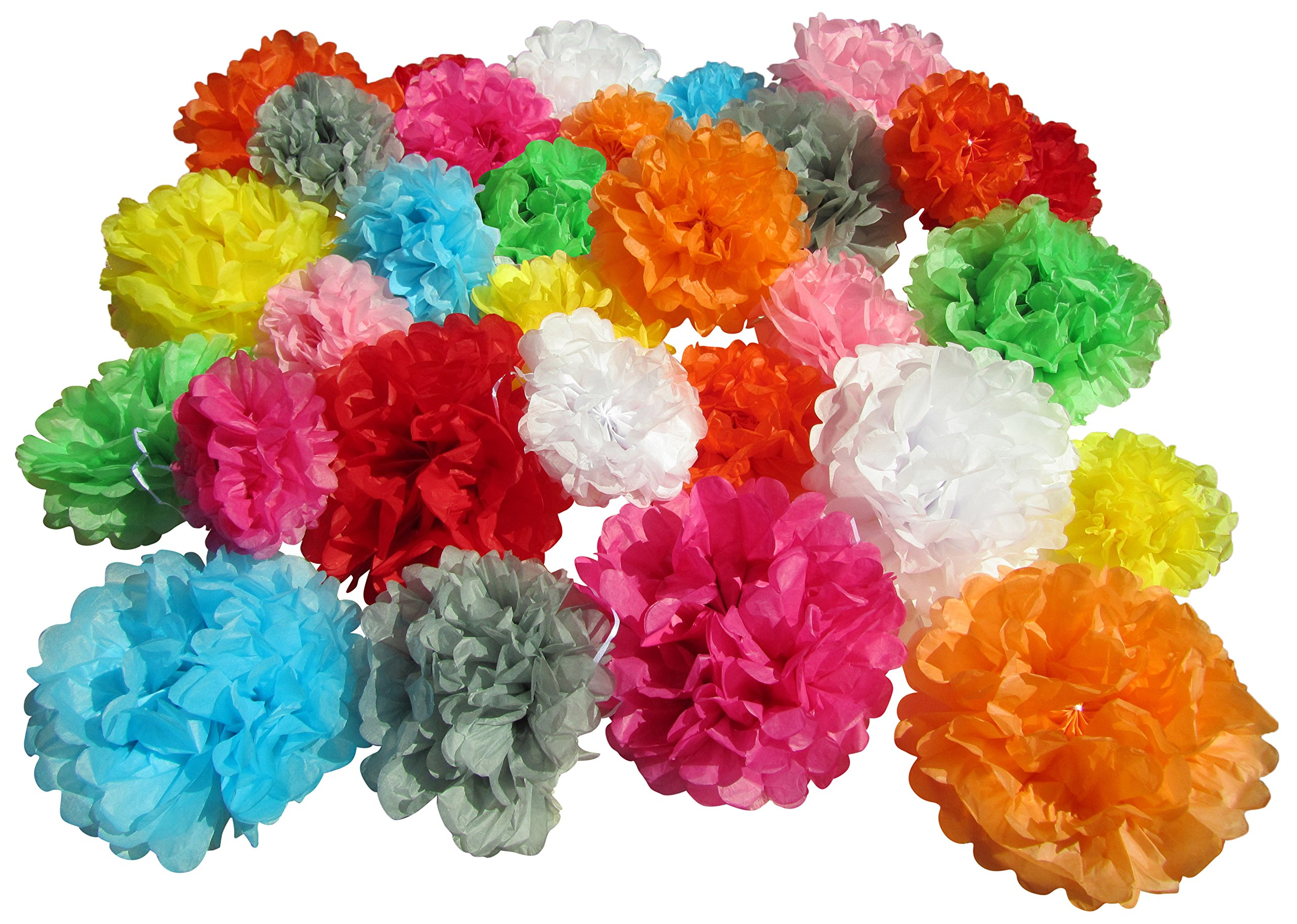 Tissue Paper Pom Poms - Set of 30 Pcs - Pre Folded Paper Decoration for Party Wedding Birthday Bridal Baby Showers Mexican Fiesta Flowers - 6 8 10 Inch - 10 Mixed Colors by Use4Party