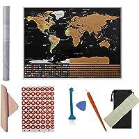 Carte du monde 80 x 60 cm (31 x 23 pouces) avec carte à gratter, informations de base sur les voyages et l'aventure, les performances des voyageurs, meilleur cadeau au format XXL ultime