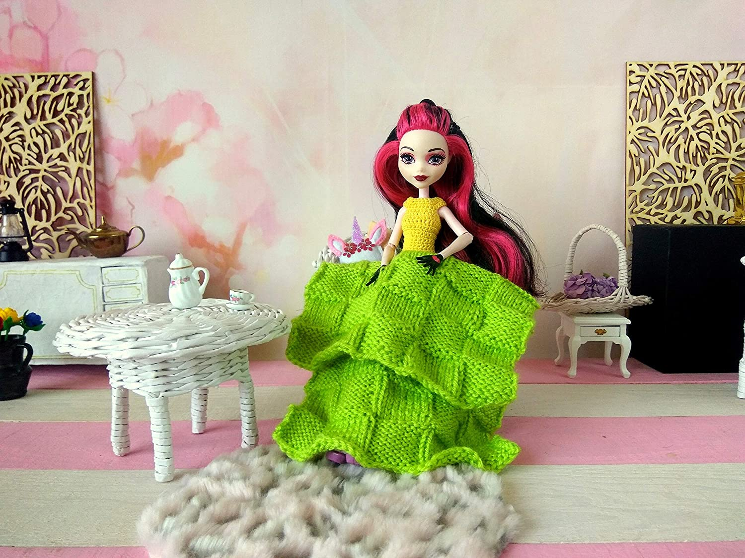 Miniature green blanket with ornament Dollhouse bedding quilt with squares for 12-inch size dolls.