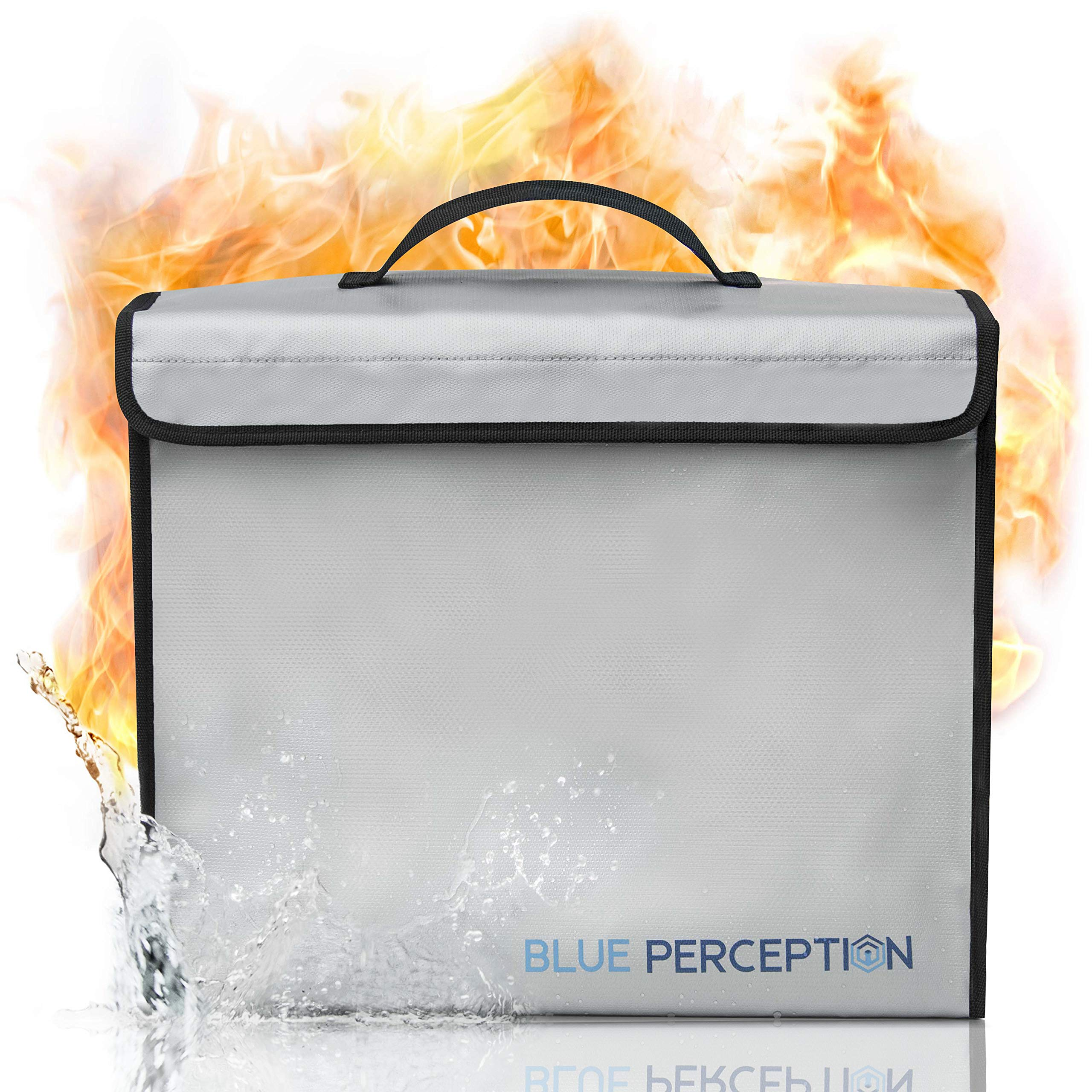BLUE PERCEPTION Fireproof Document Bags, Premium Waterproof and Fireproof Safe Money Bag up to 1832°F, Large (15''x12''x5'') Fire Proof Water Proof Safe for Important Documents, Cash, Valuables, Passport