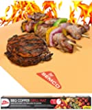 Copper GRILL MAT Set of 3 - PREMIUM NON STICK BBQ Gold Grill & Baking Chef Mats - Reusable, FDA Approved, PFOA Free - Best for Gas, Charcoal & Electric Grill