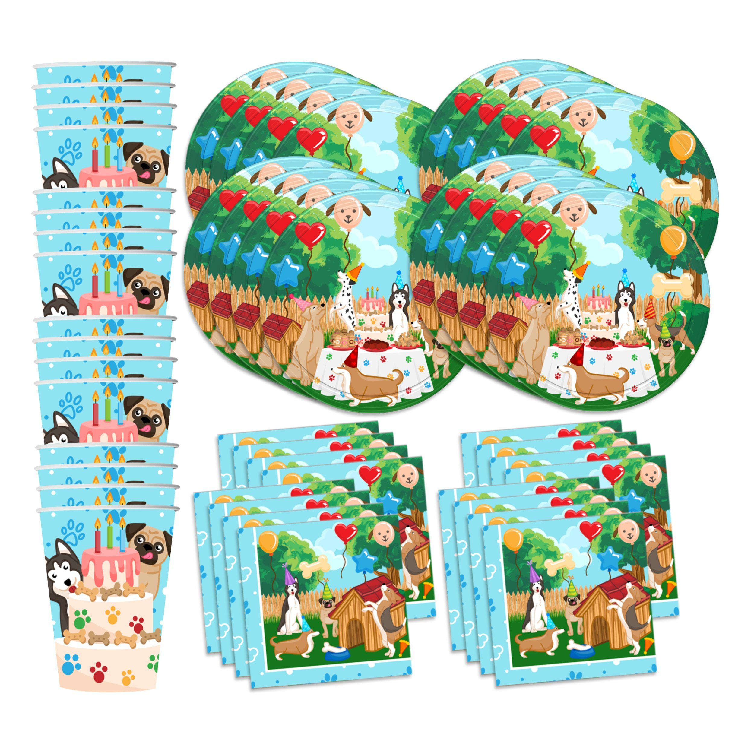 Puppy Dog Party Pups Birthday Party Supplies Set Plates Napkins Cups Kit for 16 by Birthday Galore