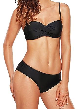 6220eb2bb0 Amazon.com  Angerella Women Vintage Bikini Set Classical Push up Bathing  Suits Bikini  Clothing