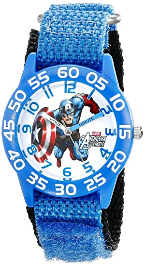 Amazon.com: Marvel Kids W001726 Captain America Analog Display Analog Quartz Blue Watch: Watches