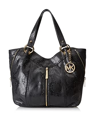 b4893f2383cc Amazon.com: Michael Kors Moxley Medium Shoulder Tote in Black Embossed  Leather: Clothing