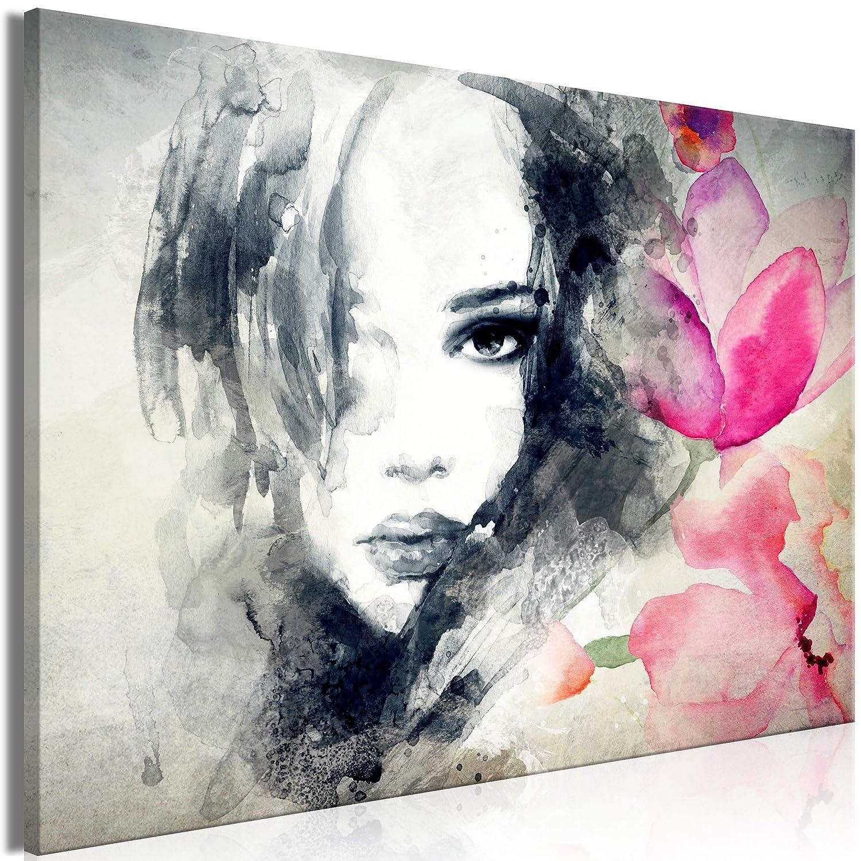 Decomonkey   Mega XXXL Bilder Abstrakt   Wandbild Leinwand 160x80 cm Einteiliger XXL Kunstdruck zum aufhängen   Blumen Porträt wie gemalt