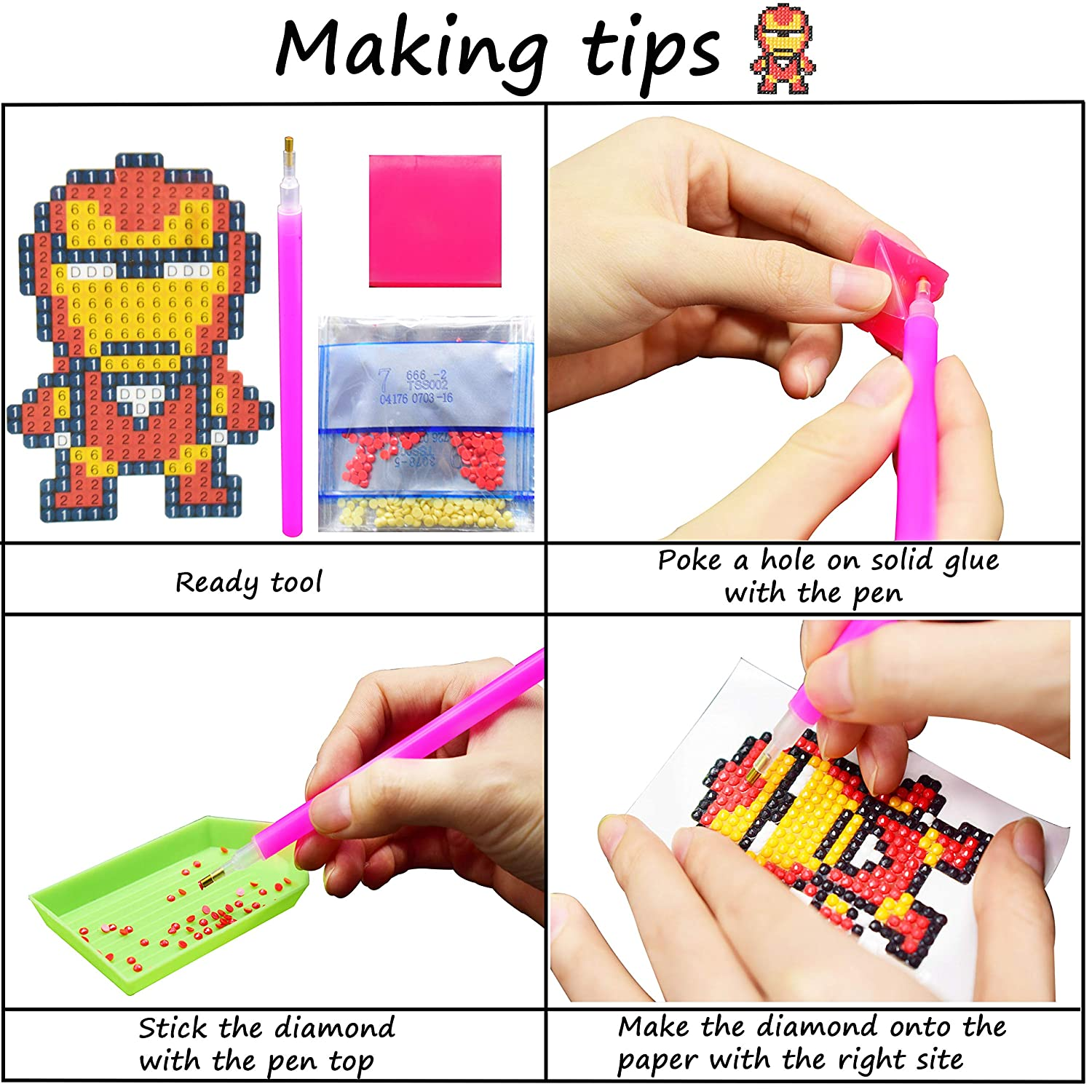 ZKSM Diamond Painting Kits for Kids DIY Paint by Numbers 5D Diamonds Stickers Arts and Crafts Dotz Kits for Kids 10 Packs, Princess