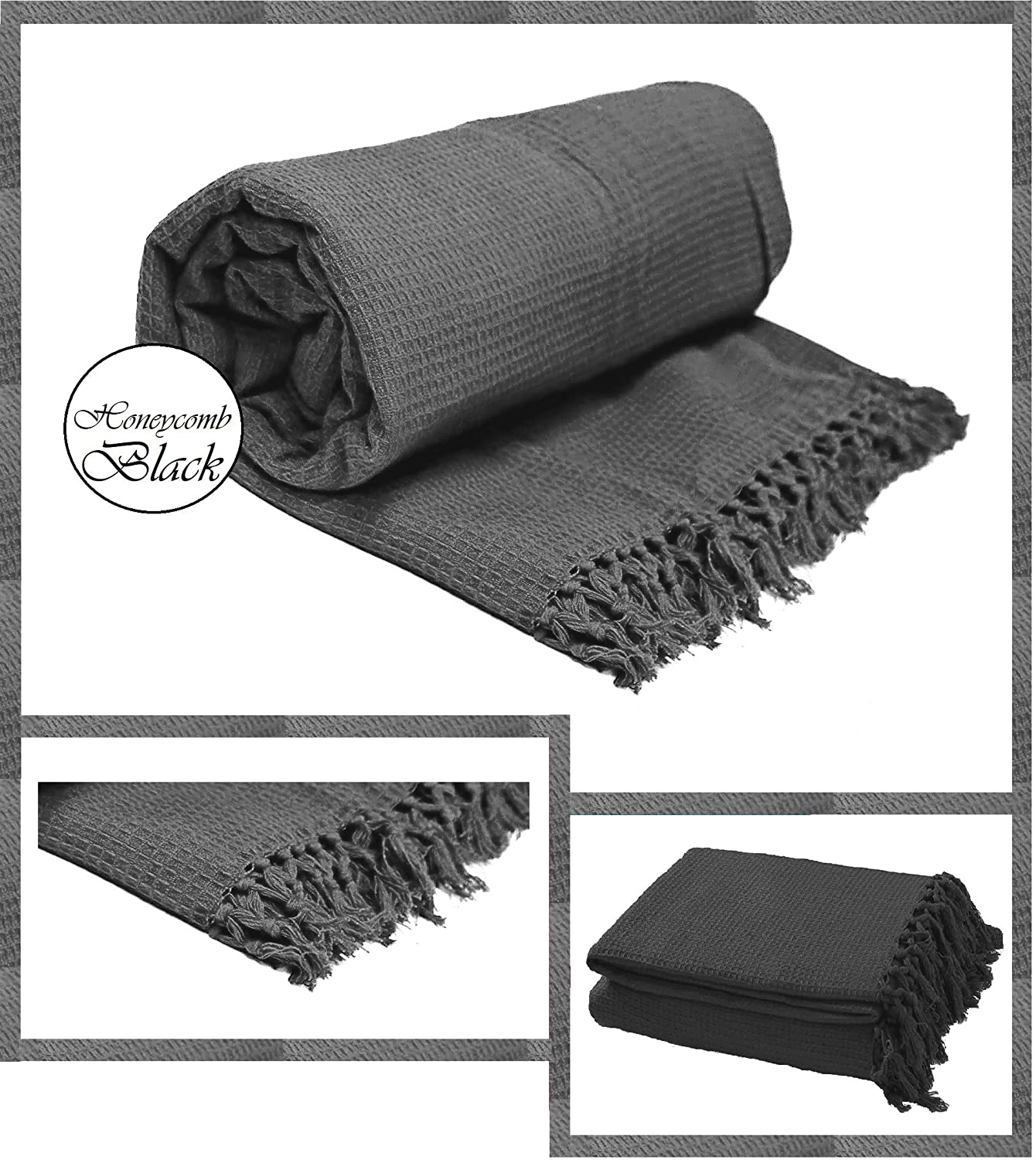 Waffle / Honeycomb 100% Cotton Woven Chair, Sofa, Bed Blanket & Throw (Chair : 127cm x 152cm, Black) Bedding Instyle