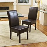 Emilia Chocolate Brown Leather Dining Chairs (Set of 2)