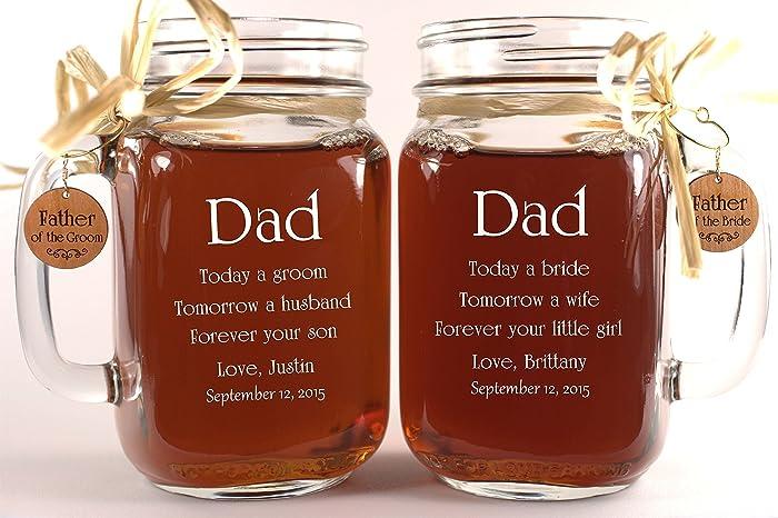 Amazon.com: Dad Wedding Gift Mason Jars, Father of the Groom Gift ...