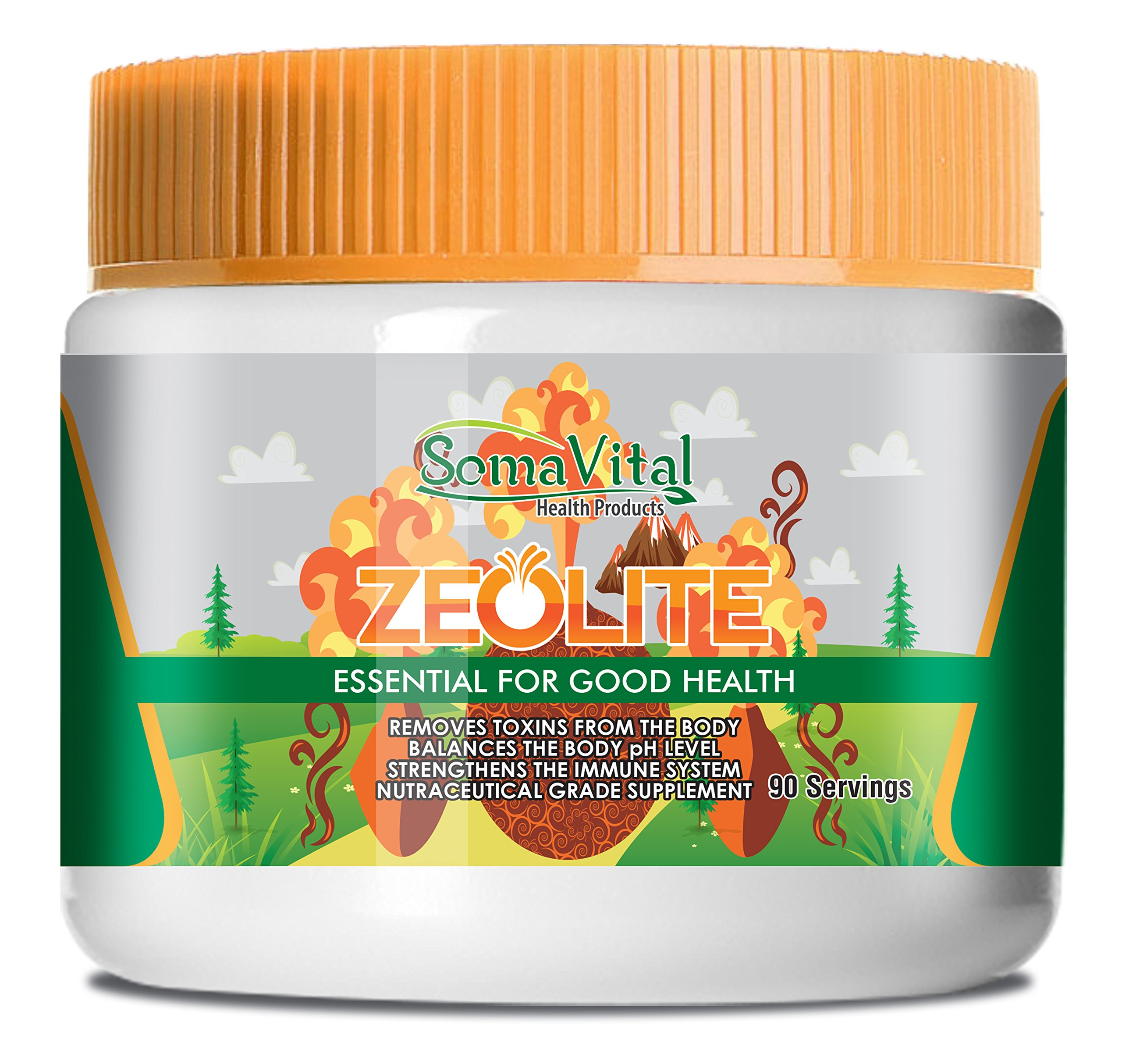 SomaVital Zeolite Powder Removes Toxins, Improves Immune System, Balances pH Level, Normalizes Blood Pressure. 100% Organic, Ultra Fine, GMO Free, Gluten Free, Vegan, Odorless, Tasteless 90 Servings