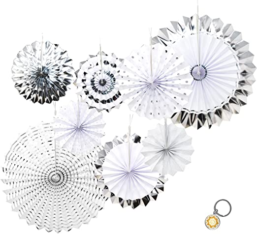 8 x White Glitter Paper Hanging Fan Decorations