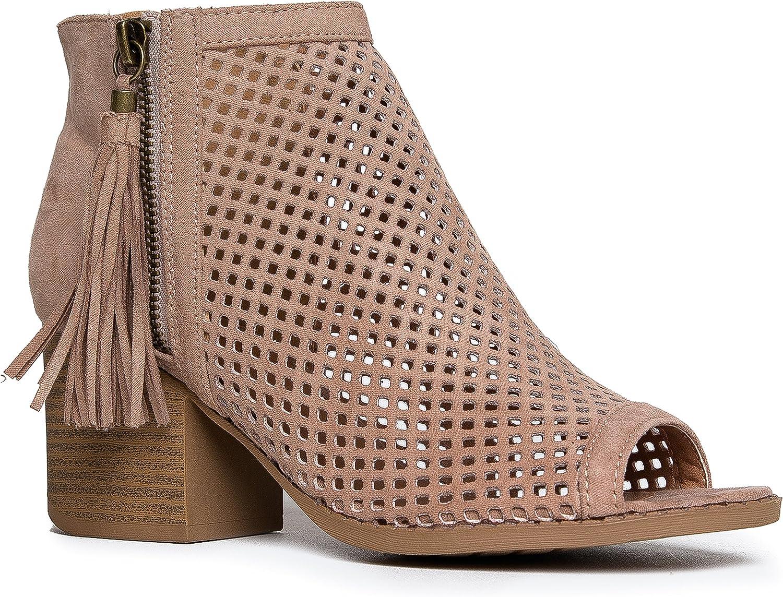 block heel ankle boots peep toe