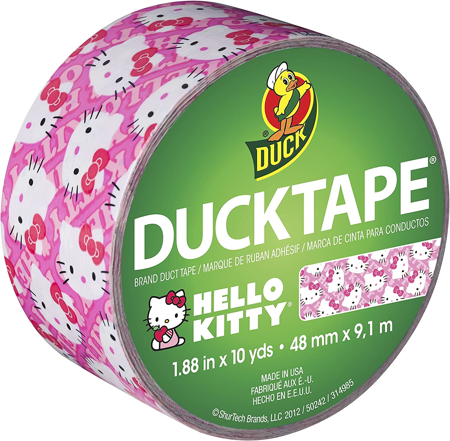 Single Duck Brand 280831 Hello Kitty Printed Duct Tape 1.88 Inches x 10 Yards