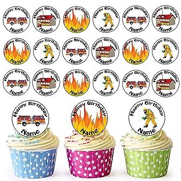 Dessin Anime Pompier Mix 24 Personnalise Comestible Pour Cupcakes