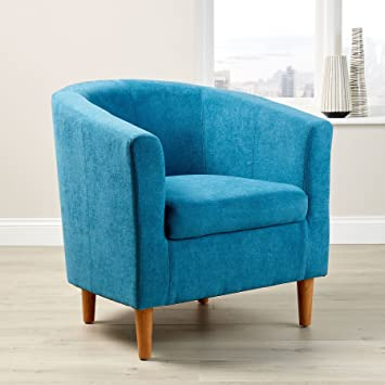 Home Source Extra Large Teal Fabric Tub Chair Wooden Legs Armchair