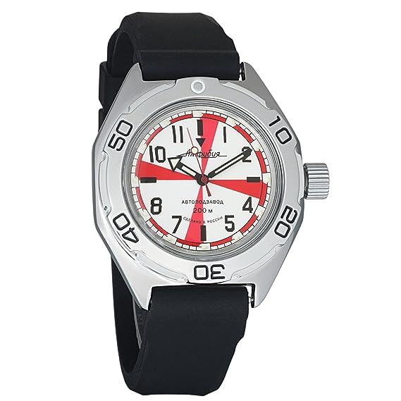 Vostok Amphibia ruso genuino ejercito buzo 200WR mecanico automatico automatico reloj pulsera negro correa de resina 670750: Amazon.es: Relojes