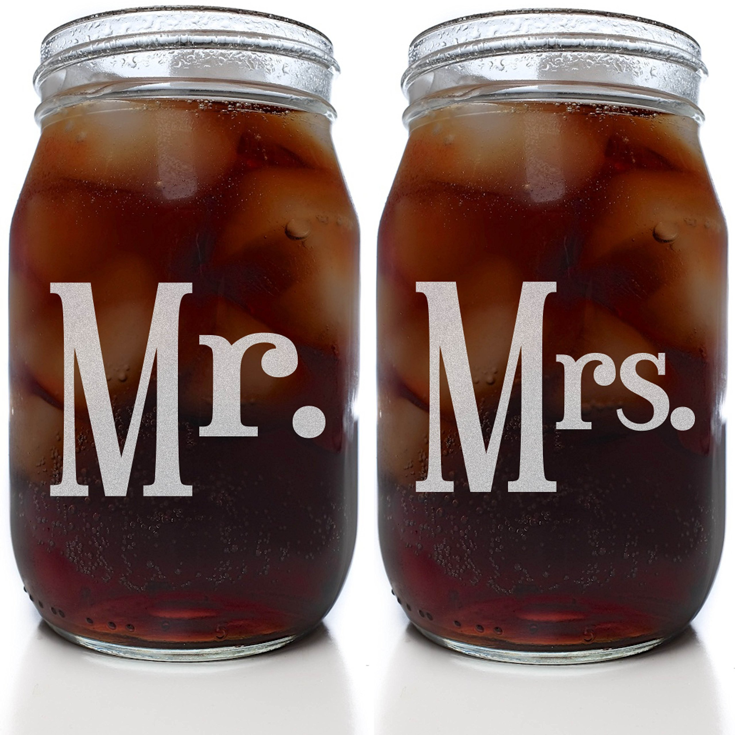 Mr & Mrs Mason Jar Set (Set of 2 Clear 16 oz. Mason Jar Glasses)