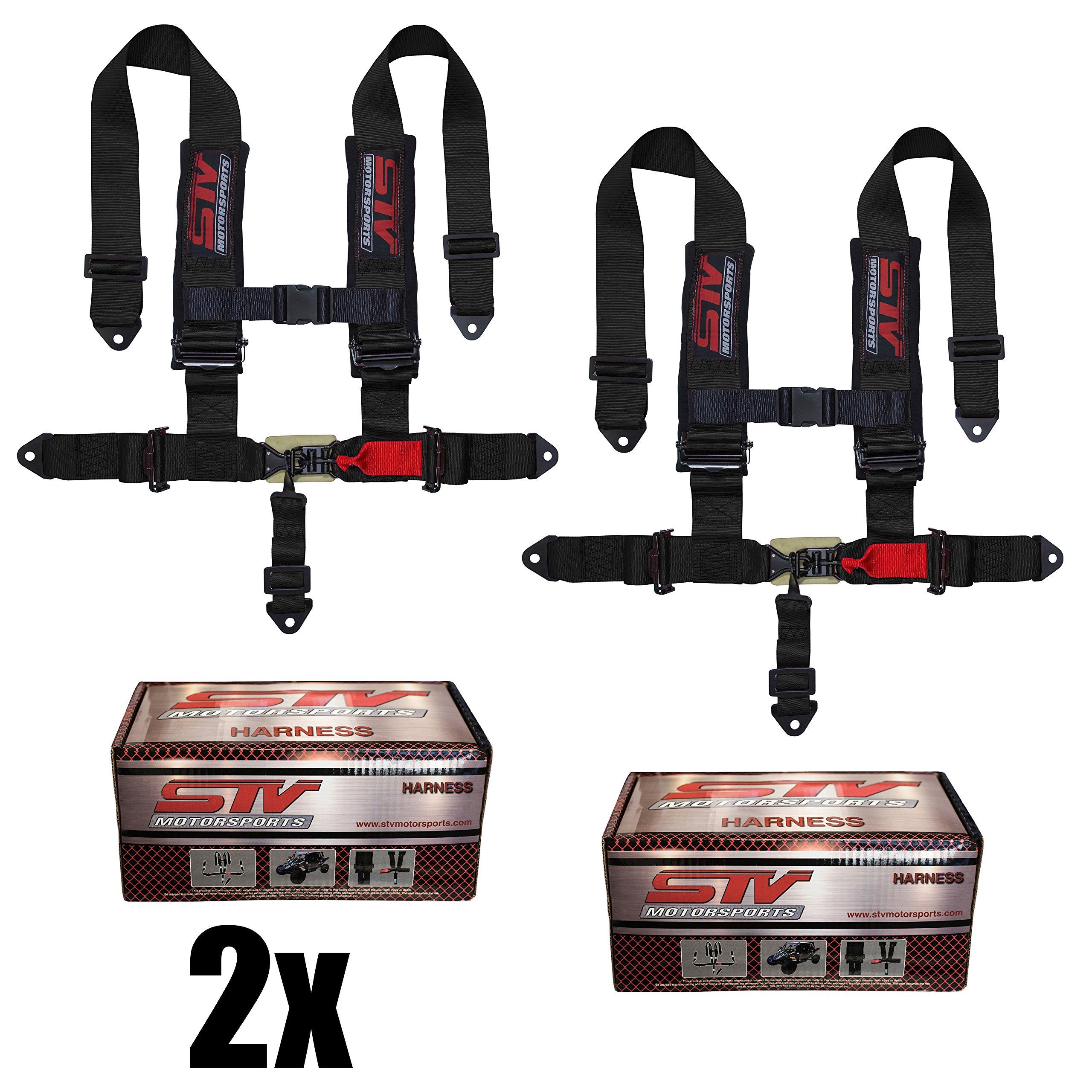 STVMotorsports 5 Point 3'' Straps Seat Harness Set Latch and Link Shoulder Pads RH5.3H - for Off-Road Vehicles, UTV, Trucks (Pair) (Black)