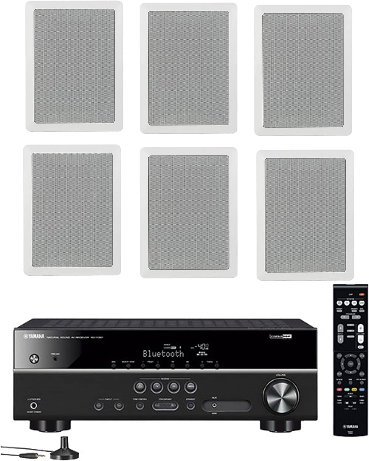 Yamaha 5.1-Channel Wireless Bluetooth 4K A/V Home Theater Receiver + Yamaha High-Performance Natural Sound 3-Way in-Wall Front/Center Speaker System (Set of 6)